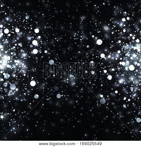 Vector silver glowing light glitter background. Christmas white magic lights background. Star burst on black background