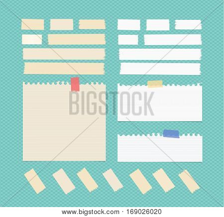 Sticky, adhesive masking tape, ruled ripped note paper stuck on blue squared background.