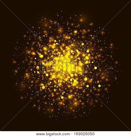Vector gold glowing light glitter background. Christmas golden magic lights background. Star burst with sparkles on dark background
