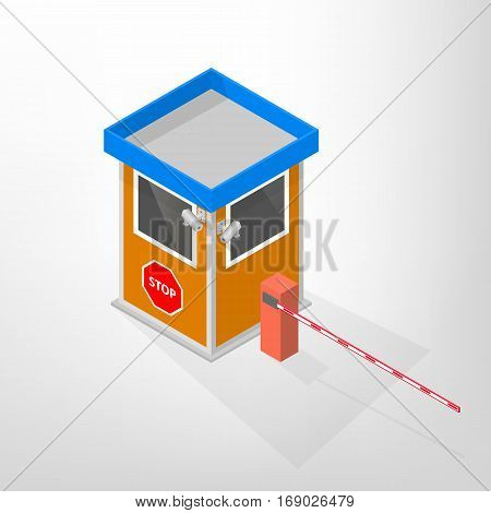 Security lodges with automatic barriers and video surveillance camera isolated on white background. Flat 3D isometric style vector illustration.