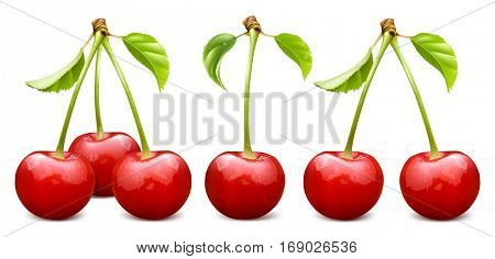Ripe red cherry with leaves. Three, one and tow cherries. Fully editable handmade mesh. Vector illustration.
