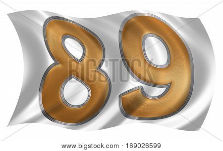 In The Wind Fluttering The Flag With Numeral 89, Eighty Nine, Isolated On White Background, 3D Rende