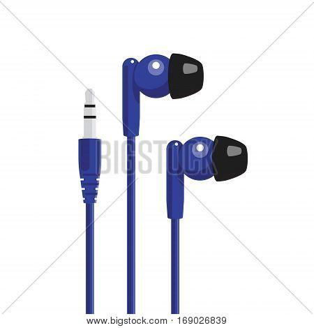 Blue headphone with mini jack connector. Vector illustration.
