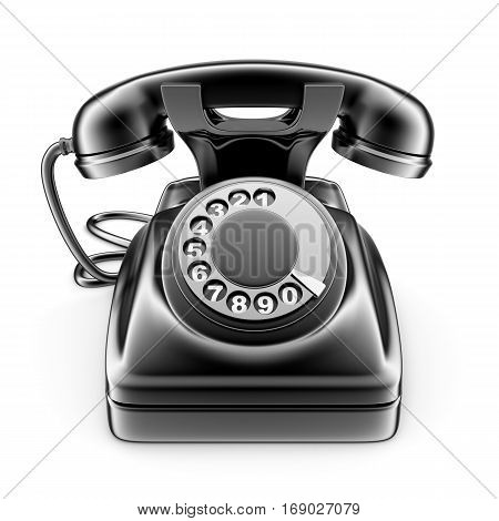 Old black rotary telephone on white background. done in 3d