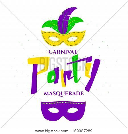 Vector illustration of Mardi Gras background with typography text for greeting card, banner, gift packaging, sale or party templates for fat tuesday, carnival, masquerade