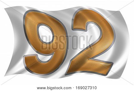 In The Wind Fluttering The Flag With Numeral 92, Ninety Two, Isolated On White Background, 3D Render
