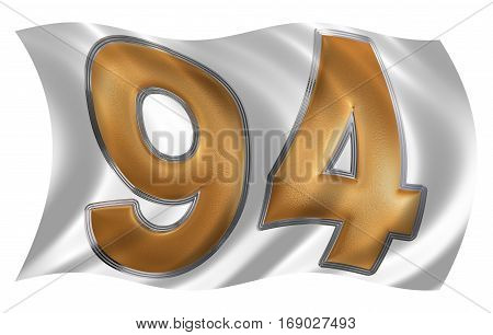 In The Wind Fluttering The Flag With Numeral 94, Ninety Four, Isolated On White Background, 3D Rende