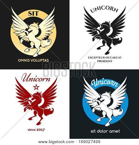 Unicorn logo vector illustration. Isolated miracle horse or myth stallion silhouette emblem