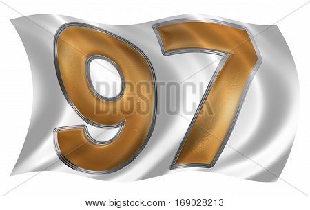 In The Wind Fluttering The Flag With Numeral 97, Ninety Seven, Ninety, Isolated On White Background,