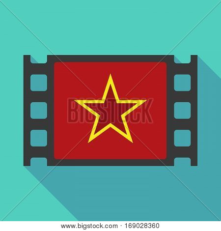 Long Shadow Film Frame With  The Red Star Of Communism Icon