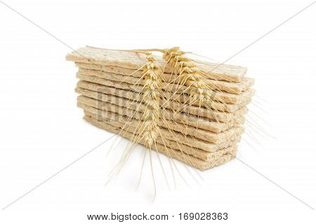 Pile of the dietary wheat wholegrain crispbread with adding a buckwheat and a barley and two wheat spikes on her closeup on a light background