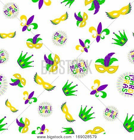 Vector illustration of cartoon seamless pattern with carnival party colored mask, fleur de lis, joker hat, text sign isolated on white background