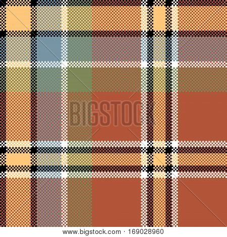 Brown check fabric texture square pixel seamless pattern. Vector illustration.