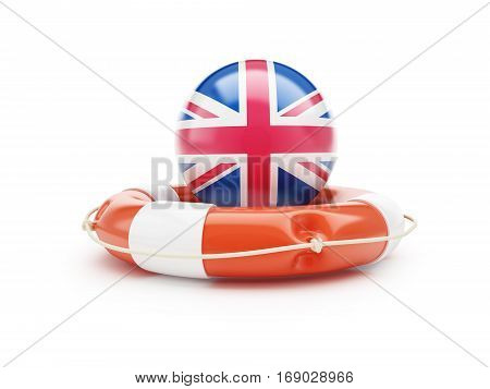 Lifebuoy Help Flag of England on a white background 3D illustration