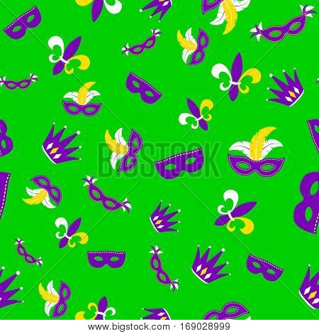 Vector illustration of cartoon seamless pattern with carnival party colored mask, fleur de lis, joker hat isolated on green background