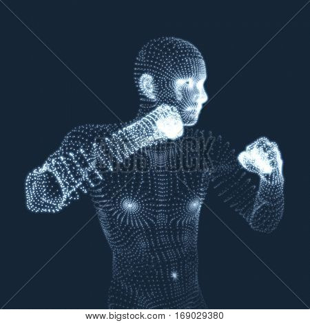Boxer. Fighting Man. 3D Model of Man. Human Body Model. Body Scanning. View of Human Body. Vector Graphics Composed of Particles.