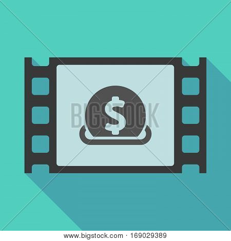 Long Shadow Film Frame With  A Dollar Coin Entering In A Moneybox