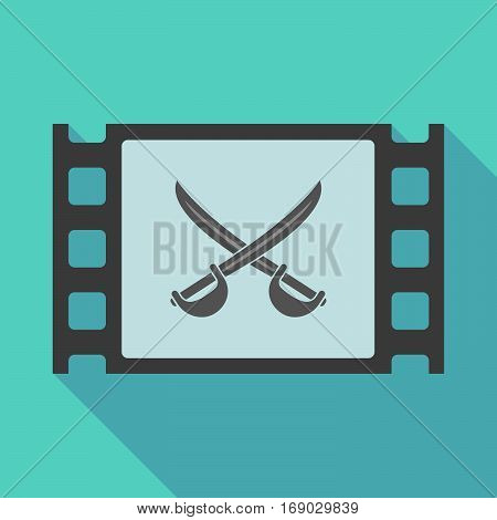 Long Shadow Film Frame With  Two Swords Crossed