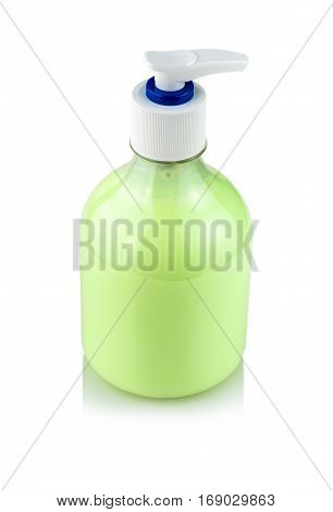 Bottle of hand sanitizer with dispenser on white background