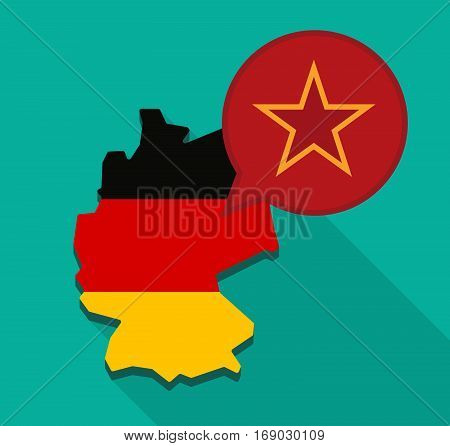 Map Of Germany With  The Red Star Of Communism Icon