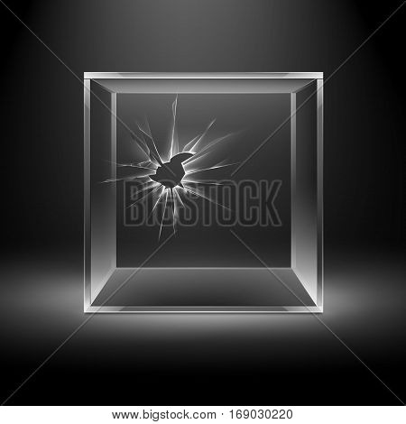 Vector Empty Transparent Broken Crack Glass Box Cube Isolated on Dark Black Background with Backlight