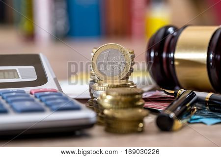 Financial Conceptual Image Of Wooden Gavel And Euro Banknotes, Coin.