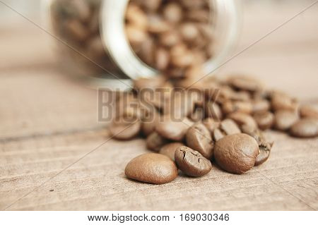 coffee beans coffee beans in a jar spilled coffee beans