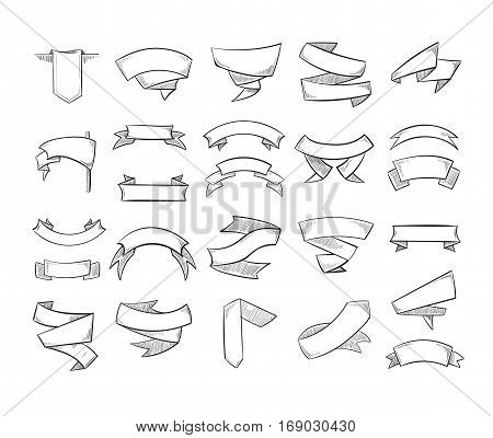 Doodle pencil drawing vector banners and ribbons. Sketch drawing scroll ribbon, illustration of swirl ribbons banners