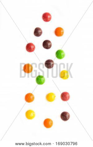Falling Jelly Beans isolated on white background.