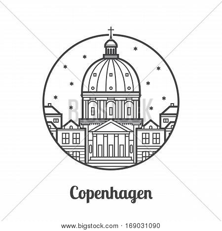 Travel Copenhagen icon. Marble church and royal palace is one of the famous landmarks and tourist attractions in the capital of Denmark. Thin line dome cathedral icon in circle.