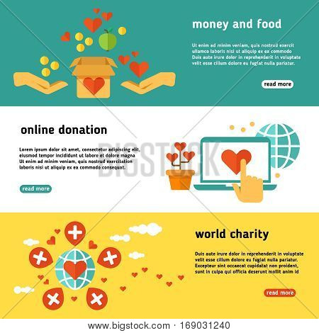 Nonprofit, charity, philanthropy, donate, giving donation, social help vector banners set. Online donation web poster, illustration of world charity and donation