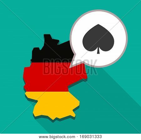 Map Of Germany With  The  Spade  Poker Playing Card Sign