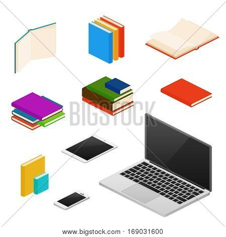 Isometric library, educational equipment, books, computers and devices. Equipment for learning and studying, illustration of reading device