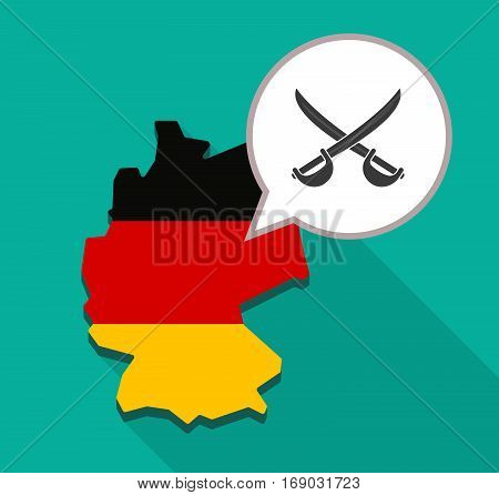 Map Of Germany With  Two Swords Crossed