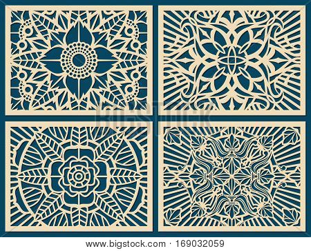 Laser cutting wall pattern canvas vector template panel. Flower pattern woodcut panel, illustration of pattern on wood