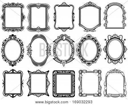 Round, oval, rectangular vintage victorian, baroque vector frames. Set of floral elegant frames illustration