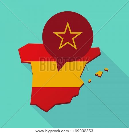 Map Of Spain With  The Red Star Of Communism Icon