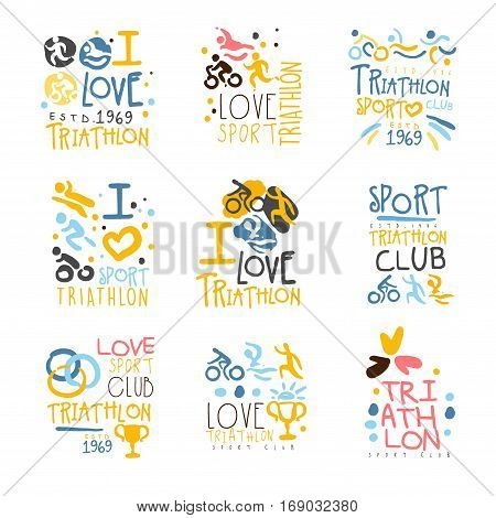 Triathlon Supporters And Fans Club For People That Love Sport Set Of Colorful Promo Sign Design Templates. Bright Color Promotional Vector Labels With Text Series.