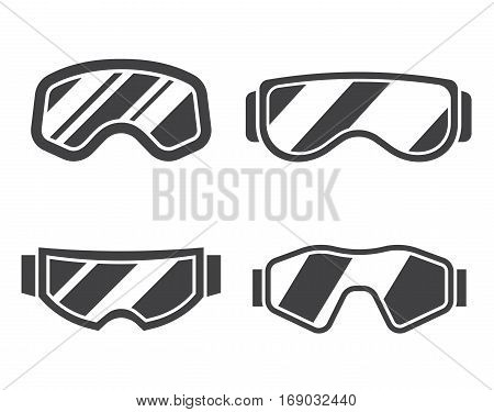 Snowboard or ski goggles silhouette collection in flat design. Skiing or snowboarding face protection glasses outline vector icon. Winter sport goggle set in black and white.