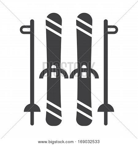 Mountain skis and ski poles outline illustration. Freeride skiing silhouette vector icons.