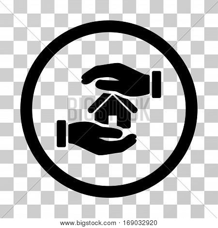 Realty Insurance Hands icon. Vector illustration style is flat iconic symbol black color transparent background. Designed for web and software interfaces.