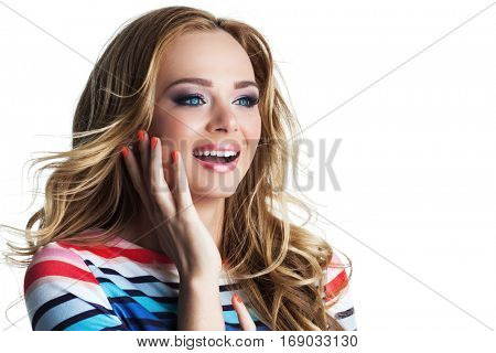 Surprised happy young woman looking sideways in excitement, isolated on white