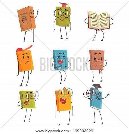 Cute Humanized Book Emoji Characters Representing Different Types Of Literature, Kids And School Books. Smiling, Laughing And Expressing Other Emotions Had Cover Manuals And Fiction Books Illustrations.