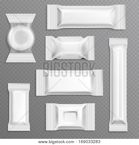 White empty bar polyethylene wrapper packaging, isolated candy package vector set. Polyethylene package for food illustration
