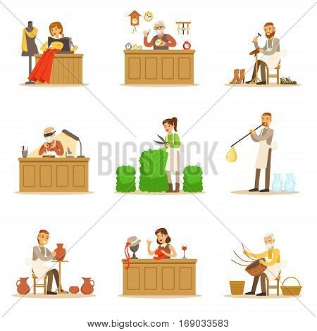 Artisan Craftsmanship Masters, Adult People And Craft Hobbies And Professions Set Of Vector Illustrations. Smiling Cartoon Characters Crafting And Doing Handmade Creative Items.