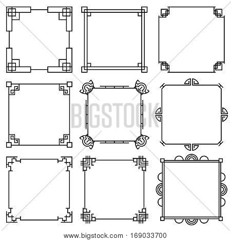 Traditional korea pattern, beautiful asia decoration, arabesque vector frames set. Traditional asian frame, illustration of chinese line frames