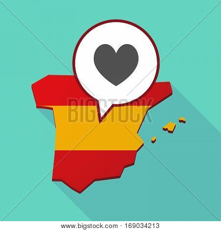 Map Of Spain With  The Heart Poker Playing Card Sign