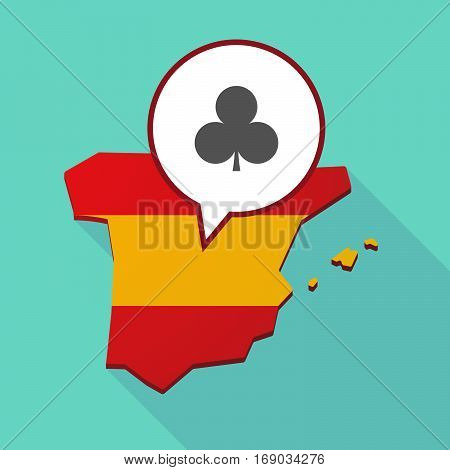 Map Of Spain With  The  Club  Poker Playing Card Sign