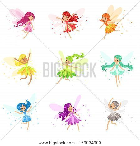 Colorful Rainbow Set Of Cute Girly Fairies With Winds And Long Hair Dancing Surrounded By Sparks And Stars In Pretty Dresses. Kids Fairy-tale Characters Fantasy Female Pixie Adorable Vector Illustrations.