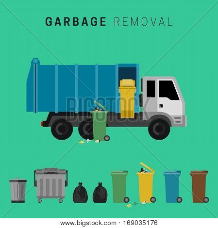 Banner with garbage truck and waste cans.